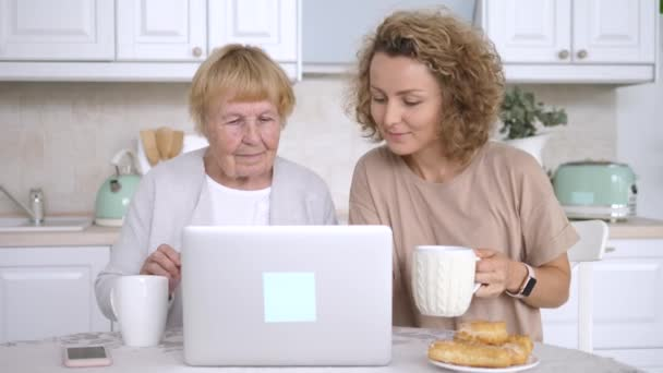 Grandmother And Granddaughter Using Laptop Computer On Kitchen.