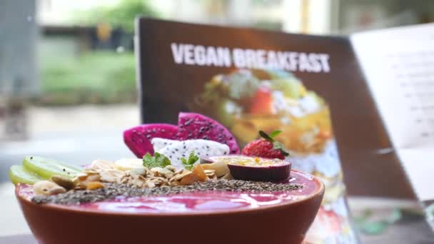 Healthy Vegan Breakfast Made Of Smoothie Bowl With Fresh Fruits
