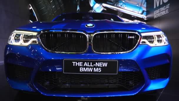 Closeup Of Bmw M5 Car Front At Motor Show. Bangkok, Thajsko - 8. dubna 2018.