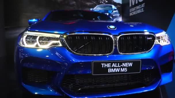 Detailní záběr Bmw M5 Car na mezinárodní autosalonu.