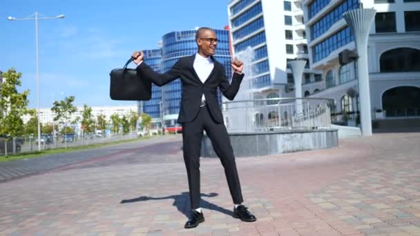 Happy Successful Businessman Dancing Outdoors