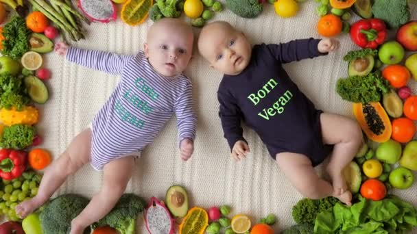 Vegan Baby Twins Lying With Fresh Organic Vegetables And Fruits.