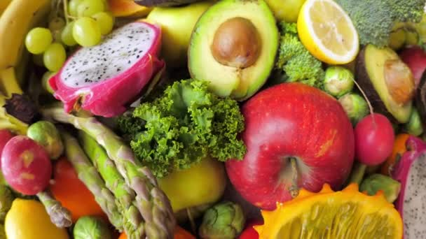 Fresh Green Organic Vegetables And Fruits. Vegan Food Concept.