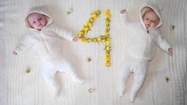 Two Beautiful Baby Twins Of Four Months. Top View.