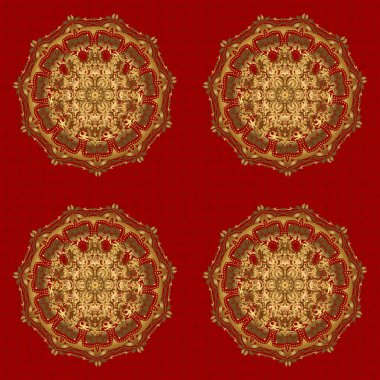Gold color round mandala on a red background. For textile, invitations, banners and other. Raster illustration.