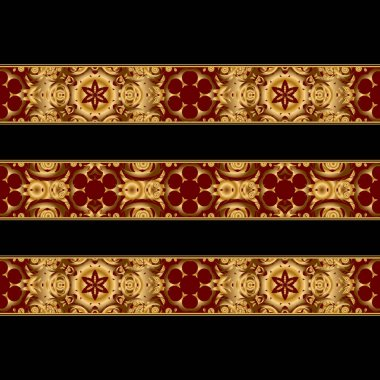 Horizontal vintage gold background set, vector square ornamental frames in gold and red colors on a black background.