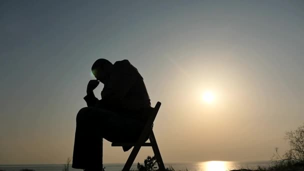 Thinking man silhouette panoramic shot