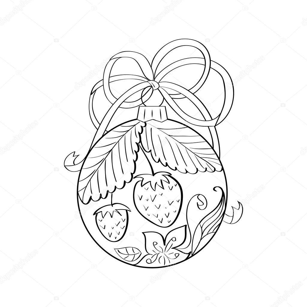 Vector de bola de Navidad con adornos de verano interior - fresa y ...