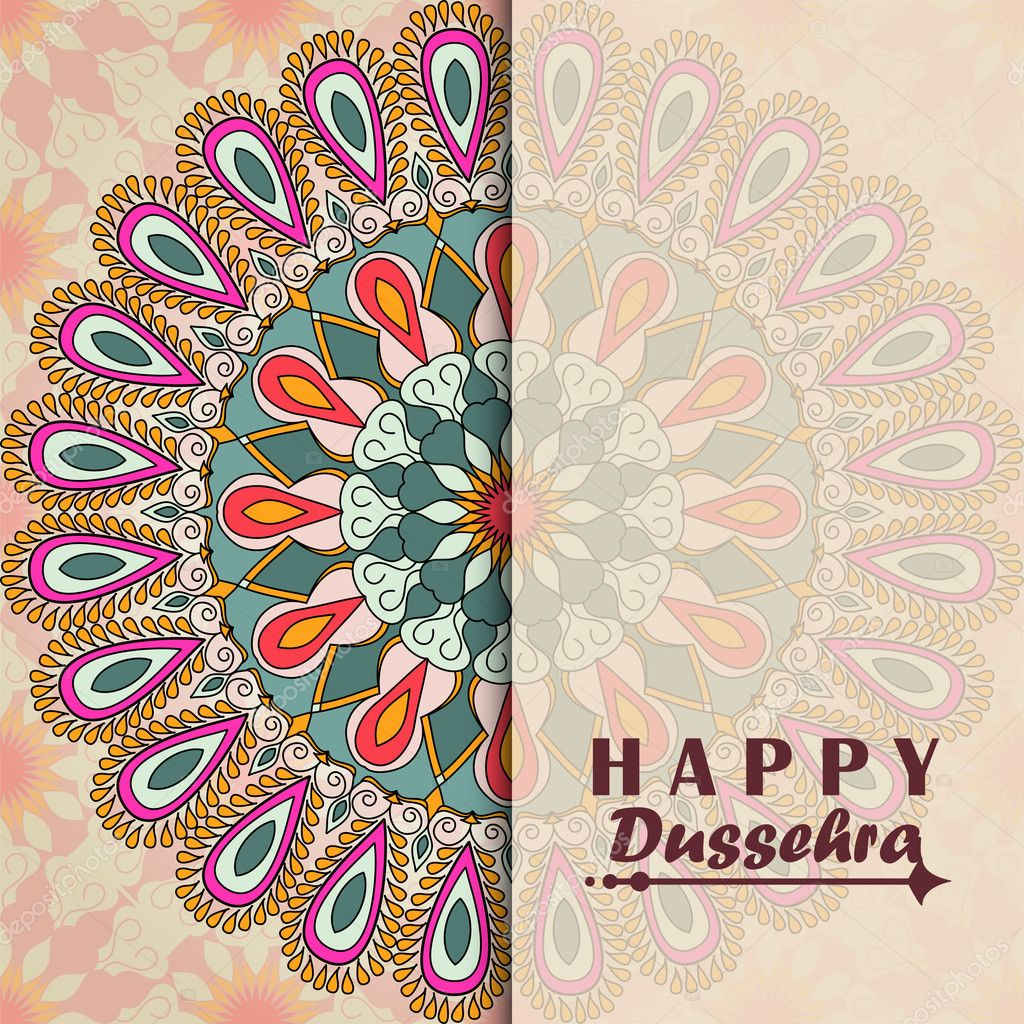 Vector Greeting Card To Indian Festival Vijayadashami Happy
