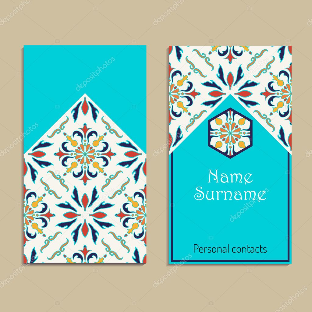 Modele De Carte Visite Vecteur Portugais Marocain Azulejo Arabe Decorations Asiatiques Illustration Stock