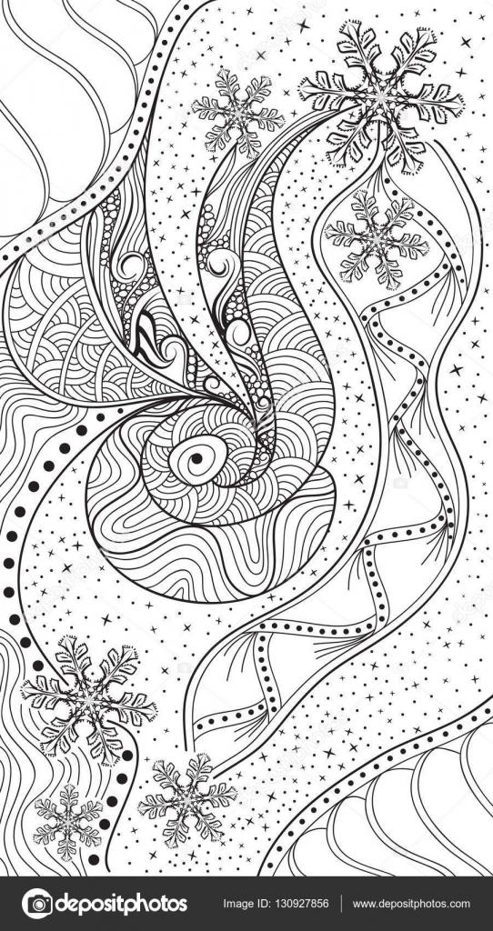Vector abstracto invierno zentangle. Doodle de blanco y negro con ...