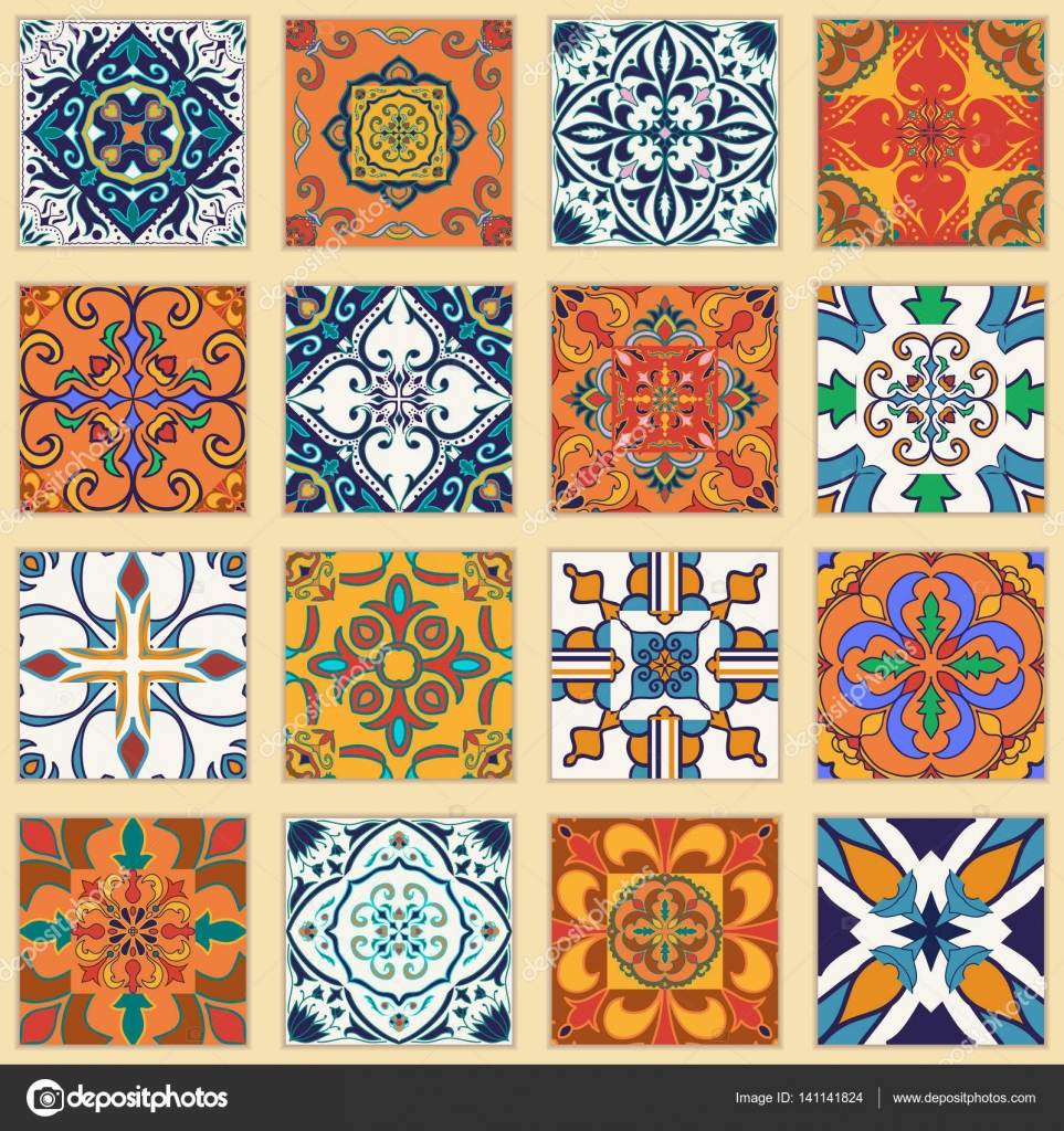 Vetor de um conjunto de azulejos portugueses cole o de Donde comprar vinilos para azulejos