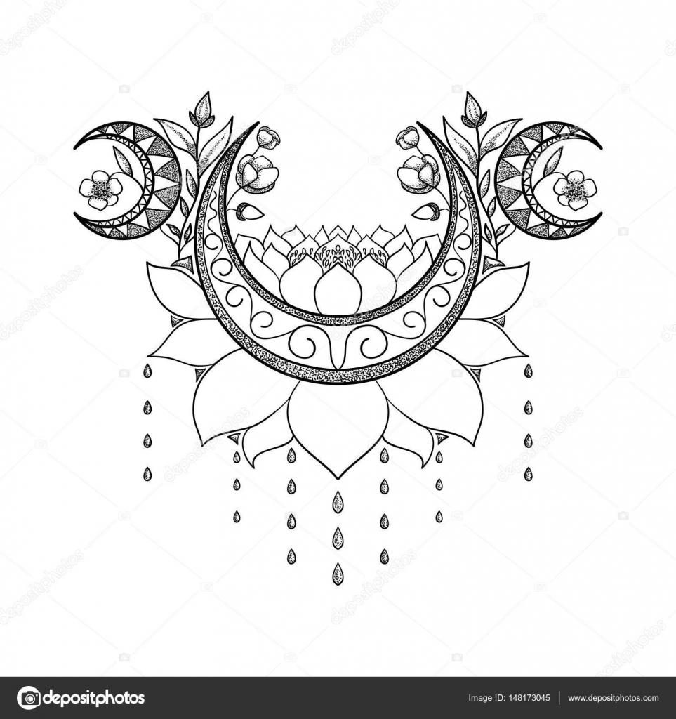 Main De Vecteur Dessiné Conception De Tatouage Composition
