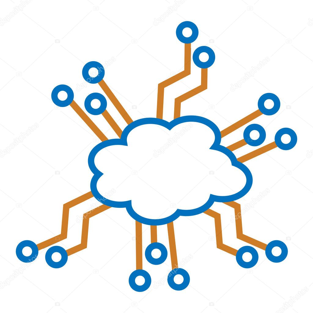 cloud and Electronic circuits.  illustration in vector format