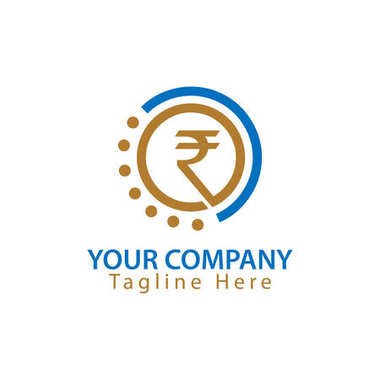 Rupee sign in circle, Finance Logo Vector,