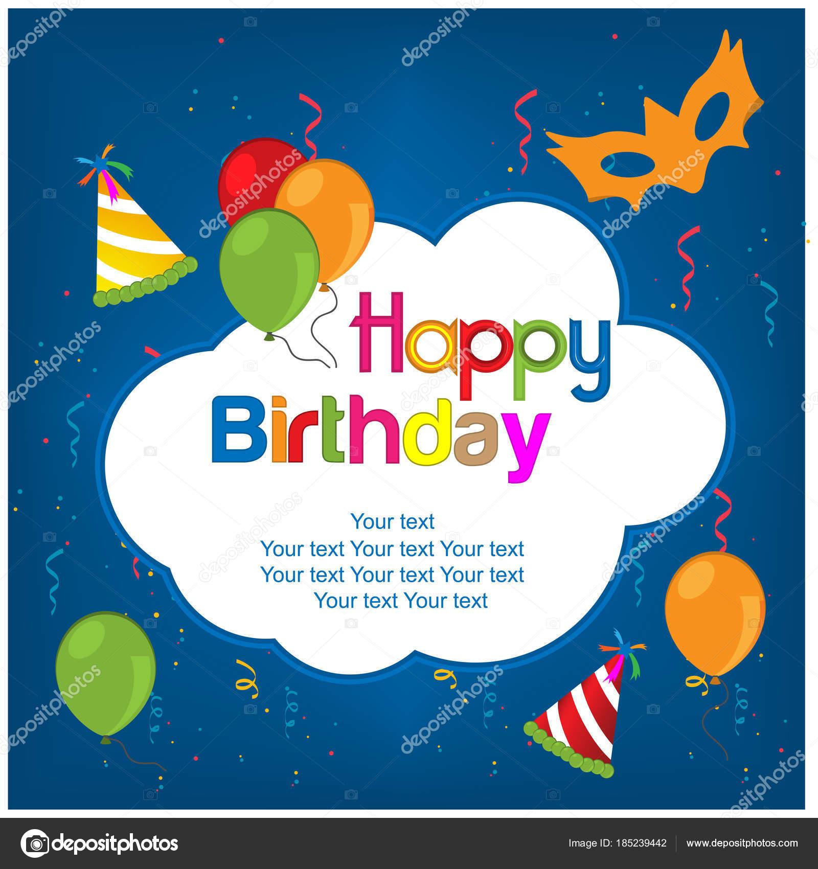 Happy Birthday Vector Design Blue Background Stock Vector C Sarya