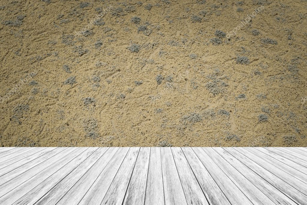 Sand Texture Surface With Wood Terrace U2014 Stock Photo
