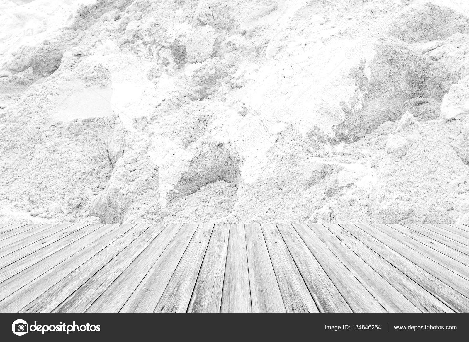 Sand Texture Surface With Wood Terrace And World Map U2014 Stock Photo