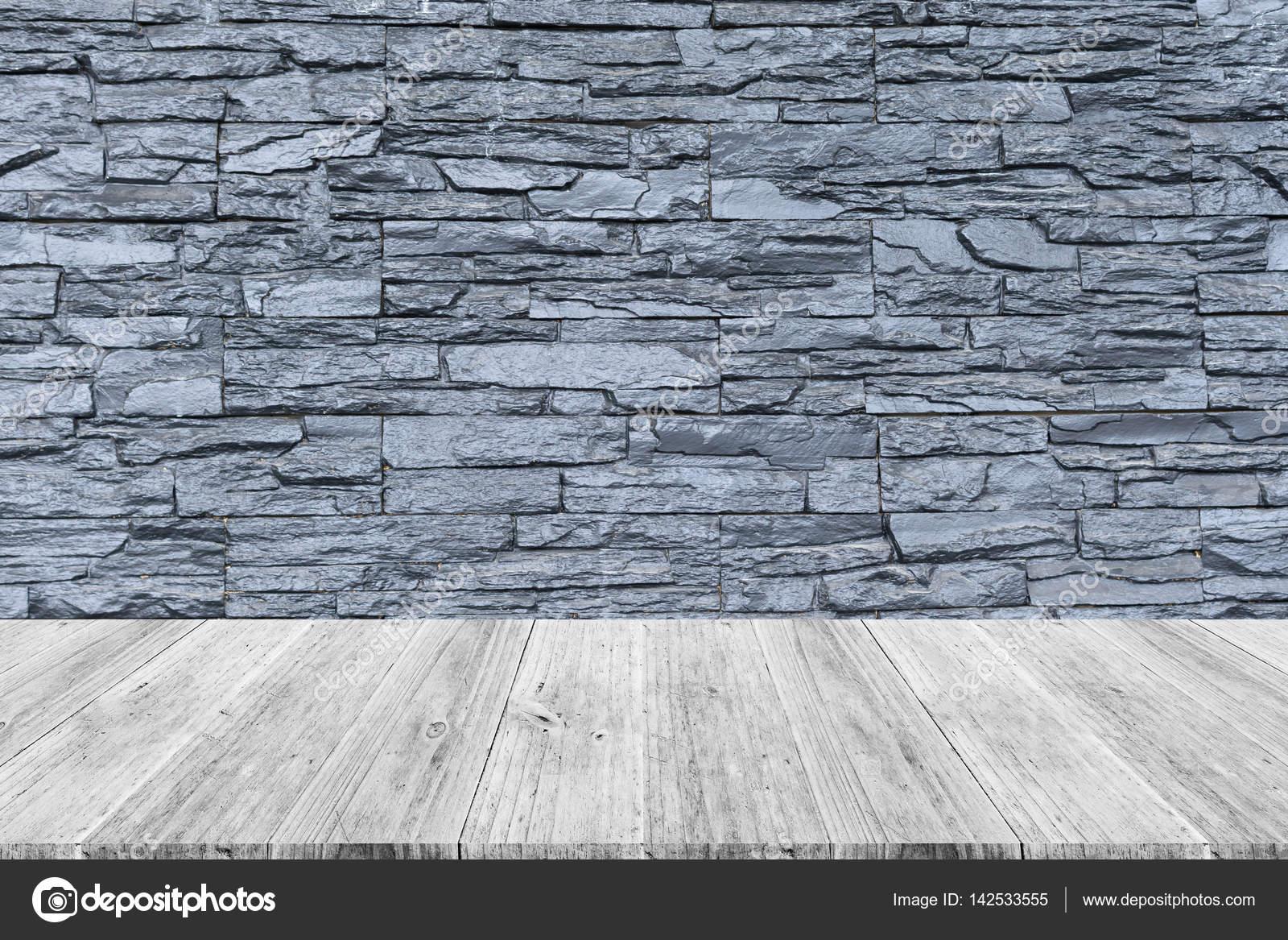 Stein Wand Textur Mit Holz Terrasse Stockfoto Pongmoji 142533555