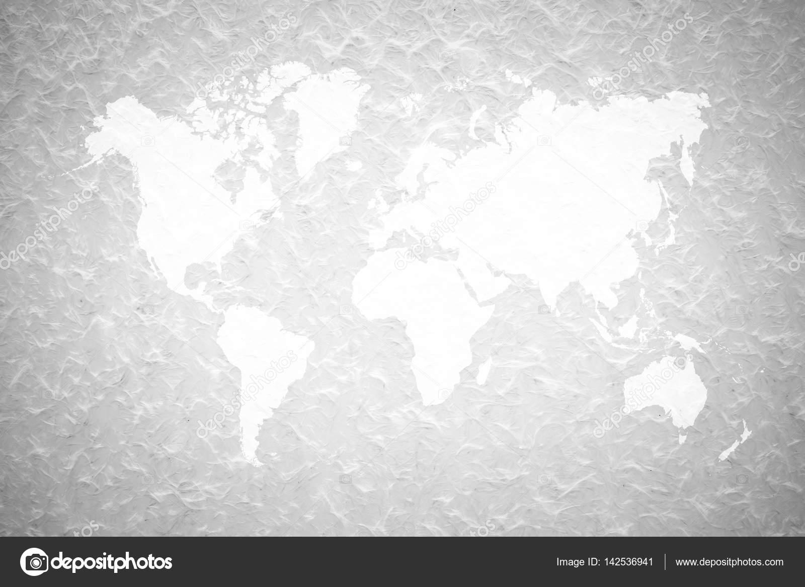 Awesome Wand Textur Hintergrund Prozess In Weißer Farbe Mit Weltkarte U2014 Stockfoto