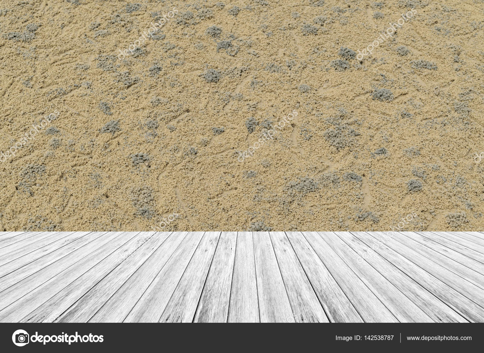 Sand Texture Surface With Wood Terrace U2014 Stock Photo #142538787
