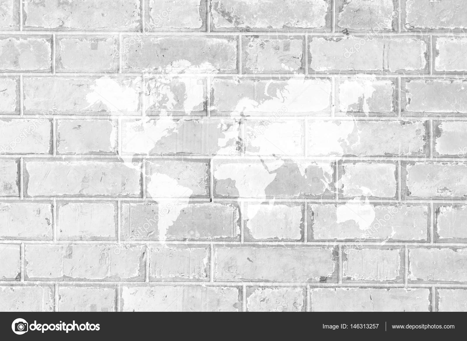 Red brick wall texture surface with world map stock photo red brick wall texture surface white color use for background with world map photo by pongmoji gumiabroncs Gallery