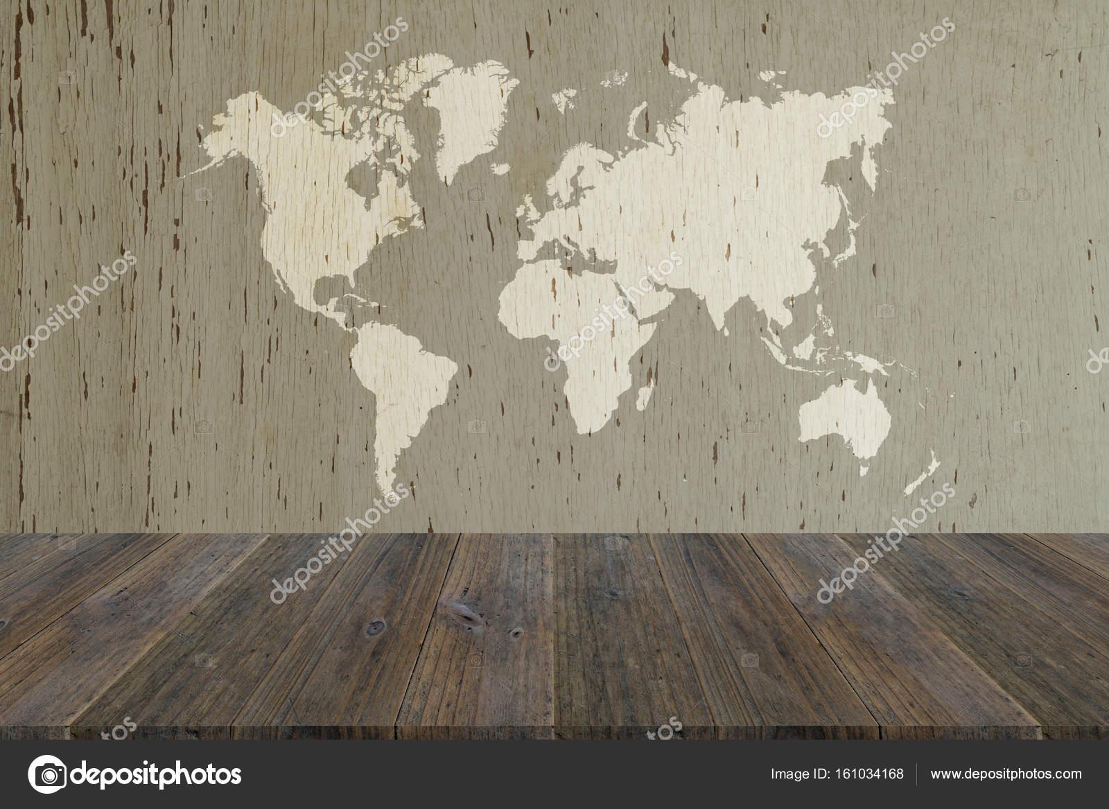 Fondo De Textura De Madera Con Terraza De Madera Con Mapa