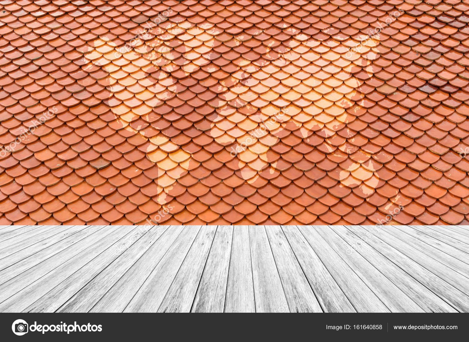 Texture De Toit De Tuile Avec Terrasse Bois Blanc Et De La