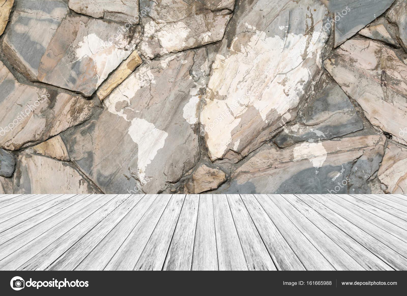 Stein Wand Textur Mit Weißem Holz Terrasse Und Weltkarte Stockfoto