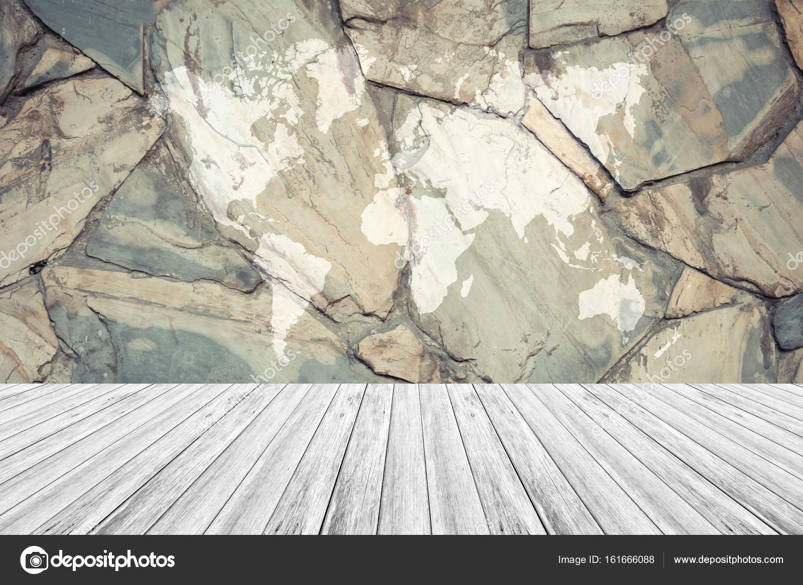 Stone wall texture stock photo pongmoji 161666088 stone wall texture background surface natural color process in vintage style with white wood terrace with world map photo by pongmoji gumiabroncs Gallery