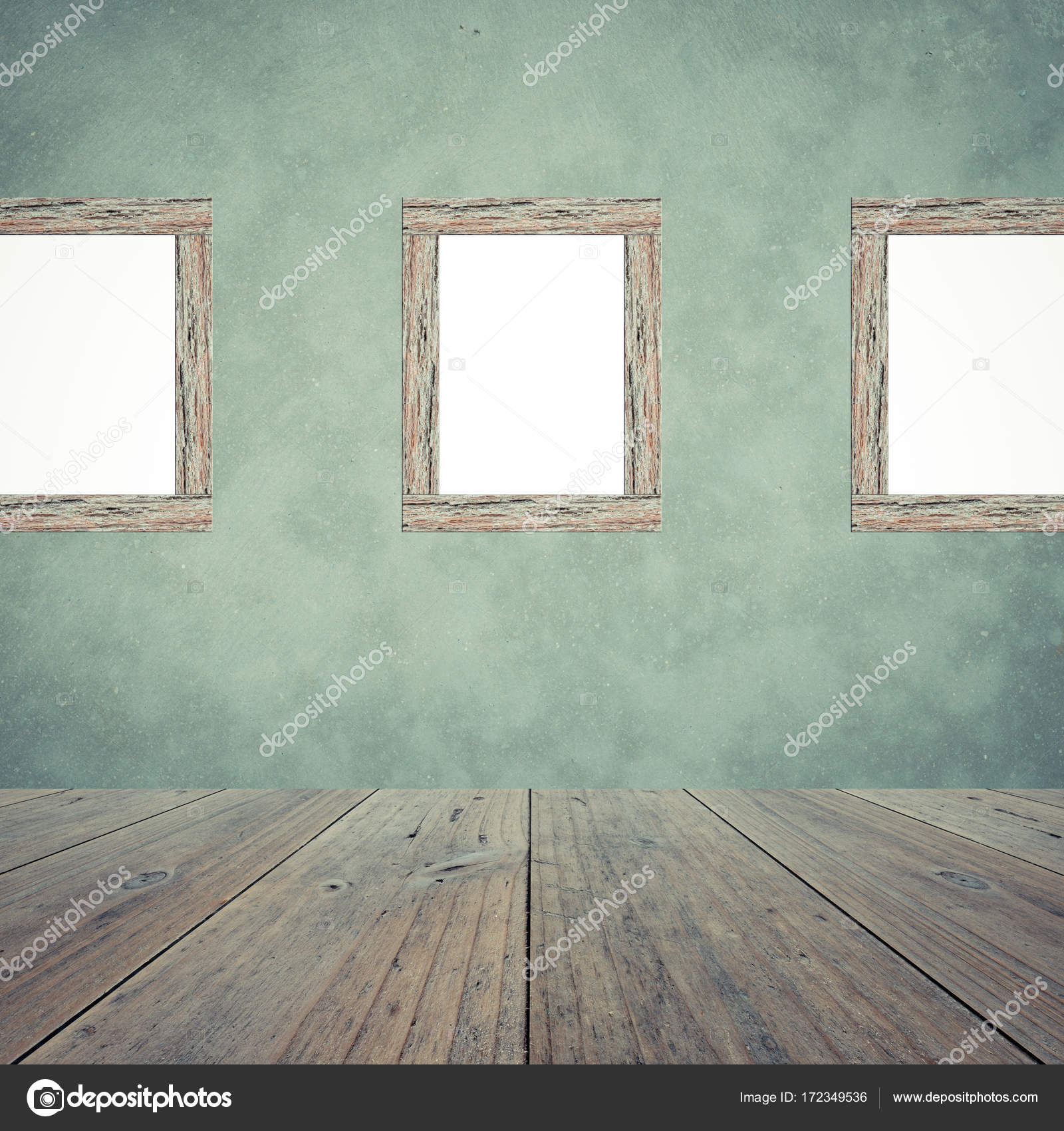 Wood Terrace And Polished Bare Concrete Wall Interior With Wood Photo  Picture Frame Texture Background , Process In Vintage Style U2014 Photo By  PongMoji
