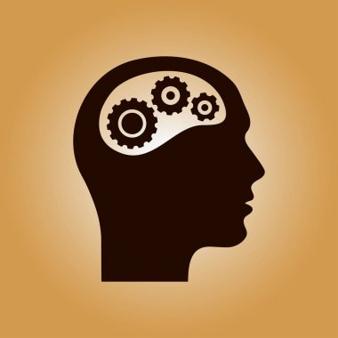 Thinking icon.  Silhouette of gear in head. Flat design style. stock vector