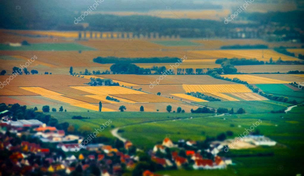 Aerial panoramic tilt-shift view to village Ribeauville from dro