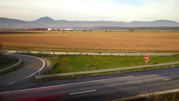 Timelapse view of cars traffic on motorway. Alsace, France.