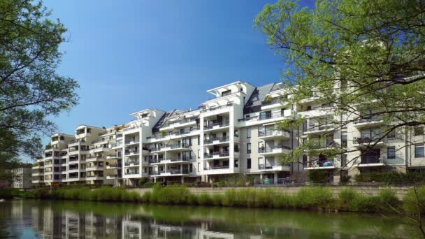 New modern apartment house on the lake in Strasbourg, Alsace, France. Architecture for comfortable life.