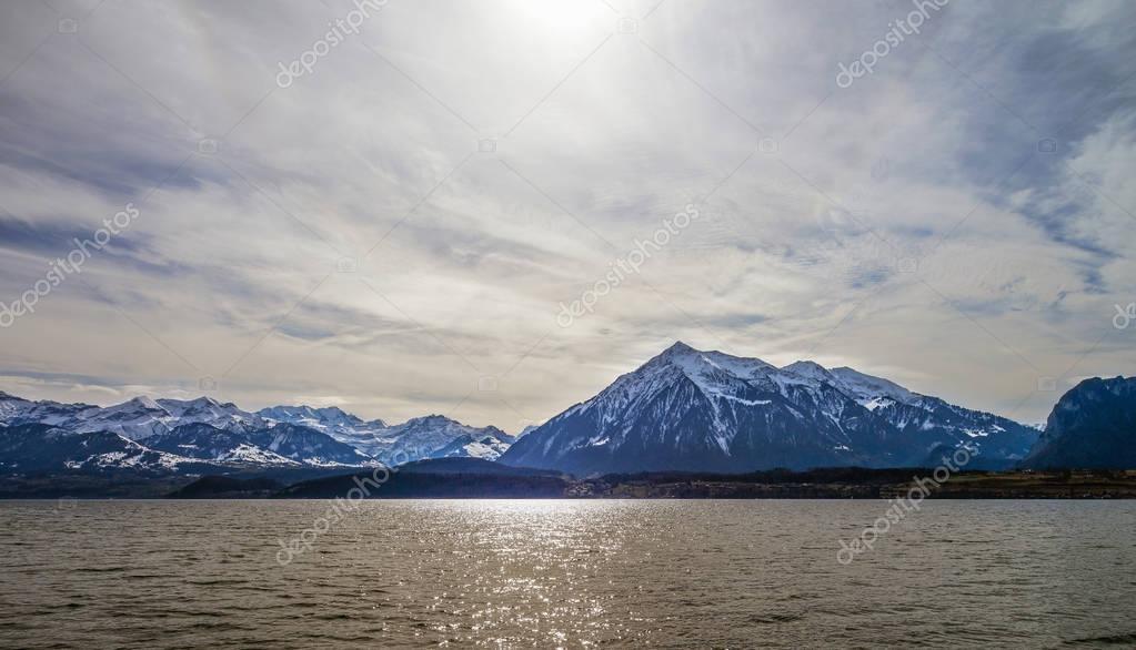 Calm place on Thun lake, Switzerland, springtime
