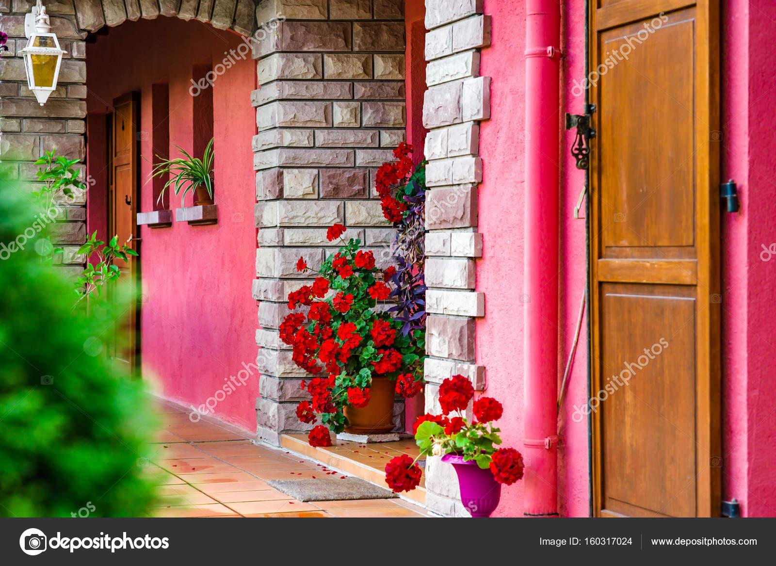 Dorp huis ingang versierd met bloemen u2014 stockfoto © sorokopud #160317024