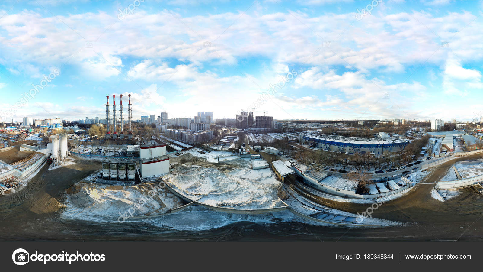 360 Degree Panoramic Aerial View Of Industrial Unhealthy Zone Ne Stock Photo