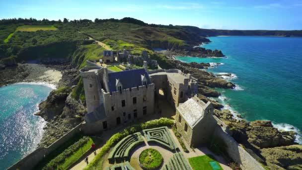 Editorial: September 19, 2017. Brittany, France. Old medieval french castle Fort la Latte panoramic aerial view, coastline in Brittany