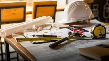 Blueprints, Hardhat, Glasses, Stickers, Construction level, Pen