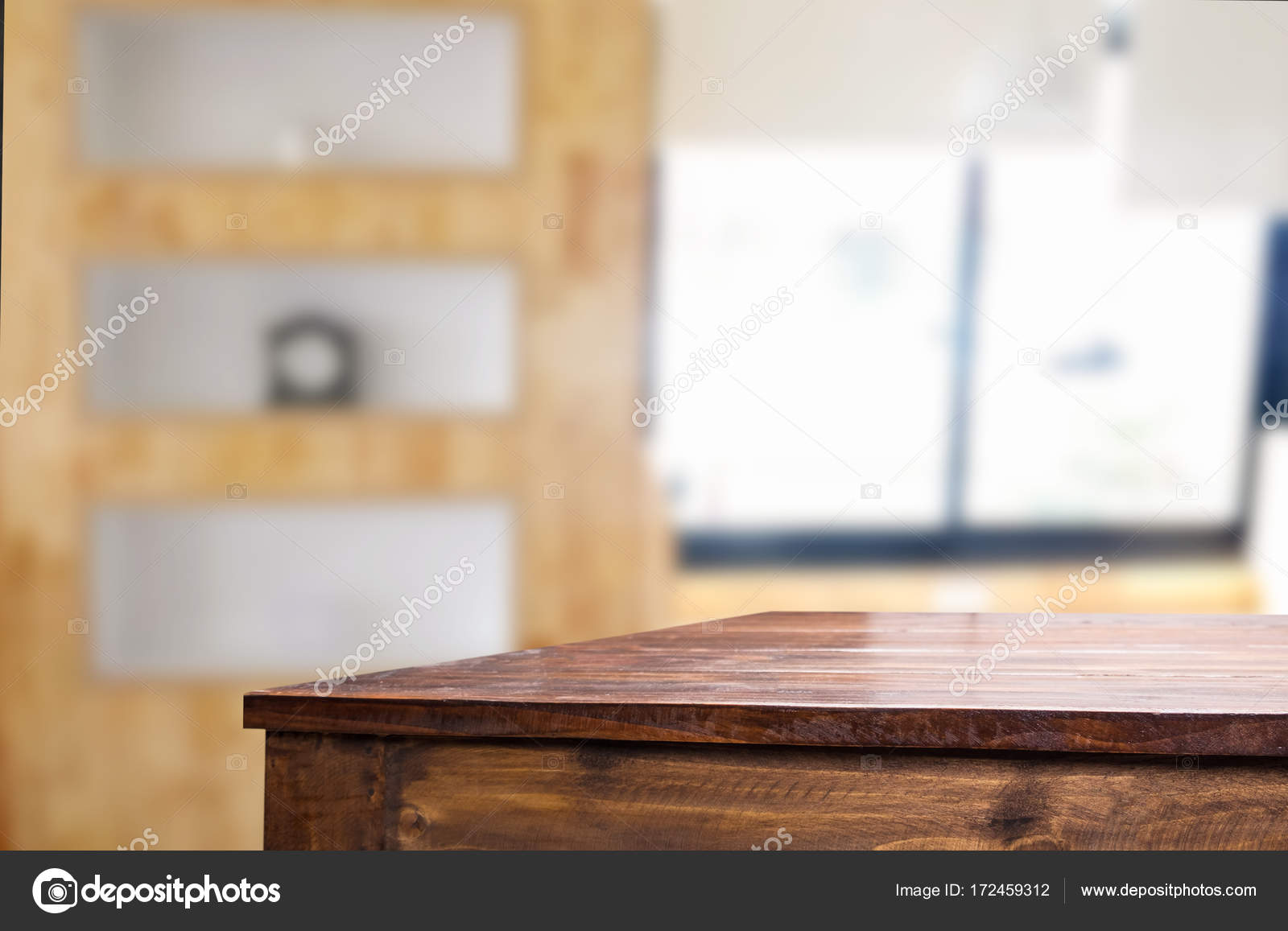 Empty Of Wood Table Top On Blur Of Window Glass In The Morning Background.  For Your Photomontage Or Product Display U2014 Photo By Snowing