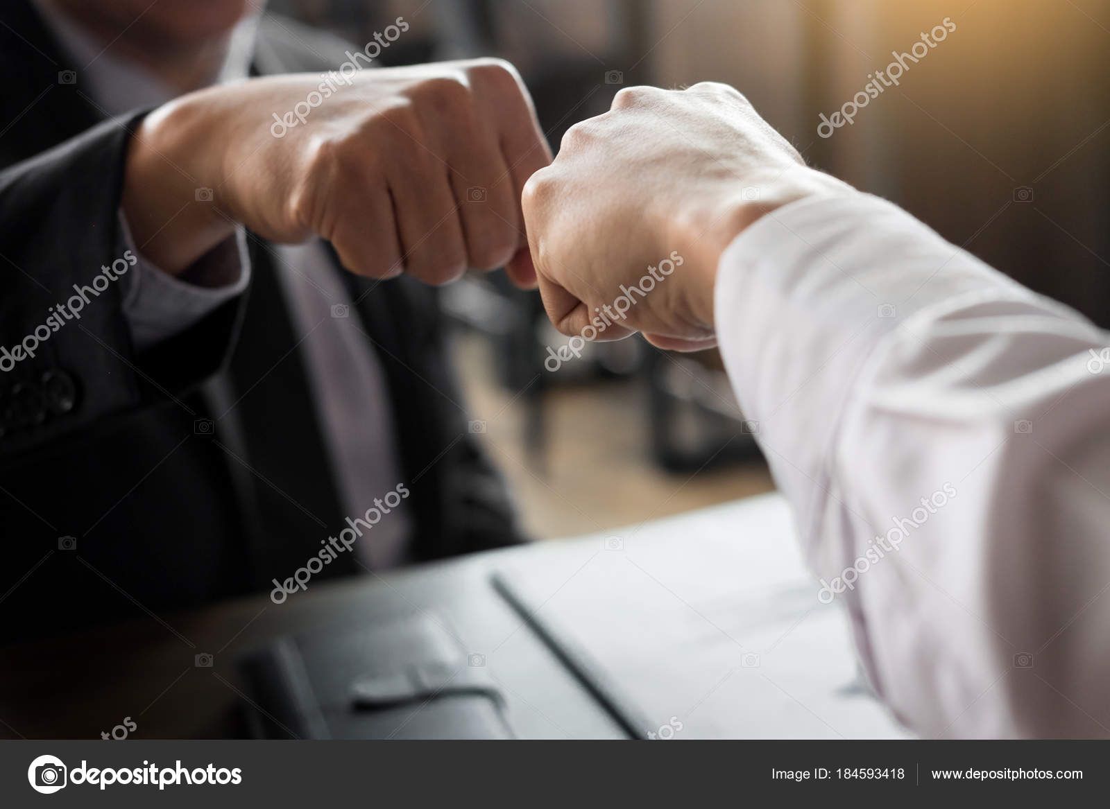 Business partners giving fist bump to commitment greeting start business partners giving fist bump to commitment greeting start up new project or complete mission successful deal together with strong teamwork startup m4hsunfo
