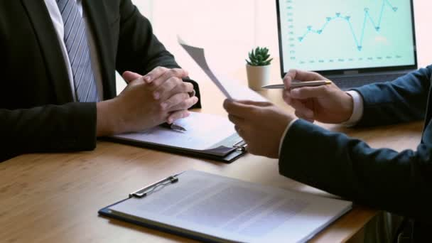4k video of Job interview with corporate talking about  during about colloquy his profile resume business manager in office, employment and recruitment concept.