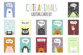 Grußkarten Set - süße Tiere. Vektor Hand gezeichneten Vorlage für Party, Scrapbooking etc..