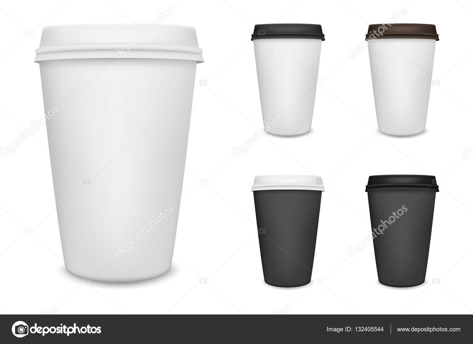 Realistic Blank Paper Coffee Cup Set Isolated On White Background Vector Design Template