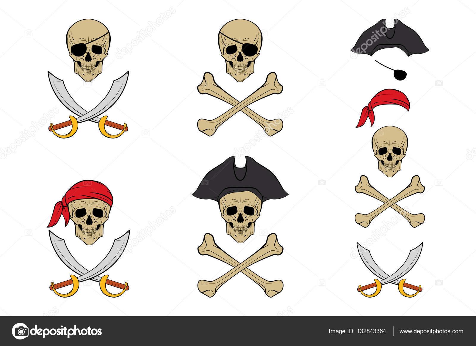 Conjunto de calavera pirata. Plantillas de diseño vectorial — Vector ...