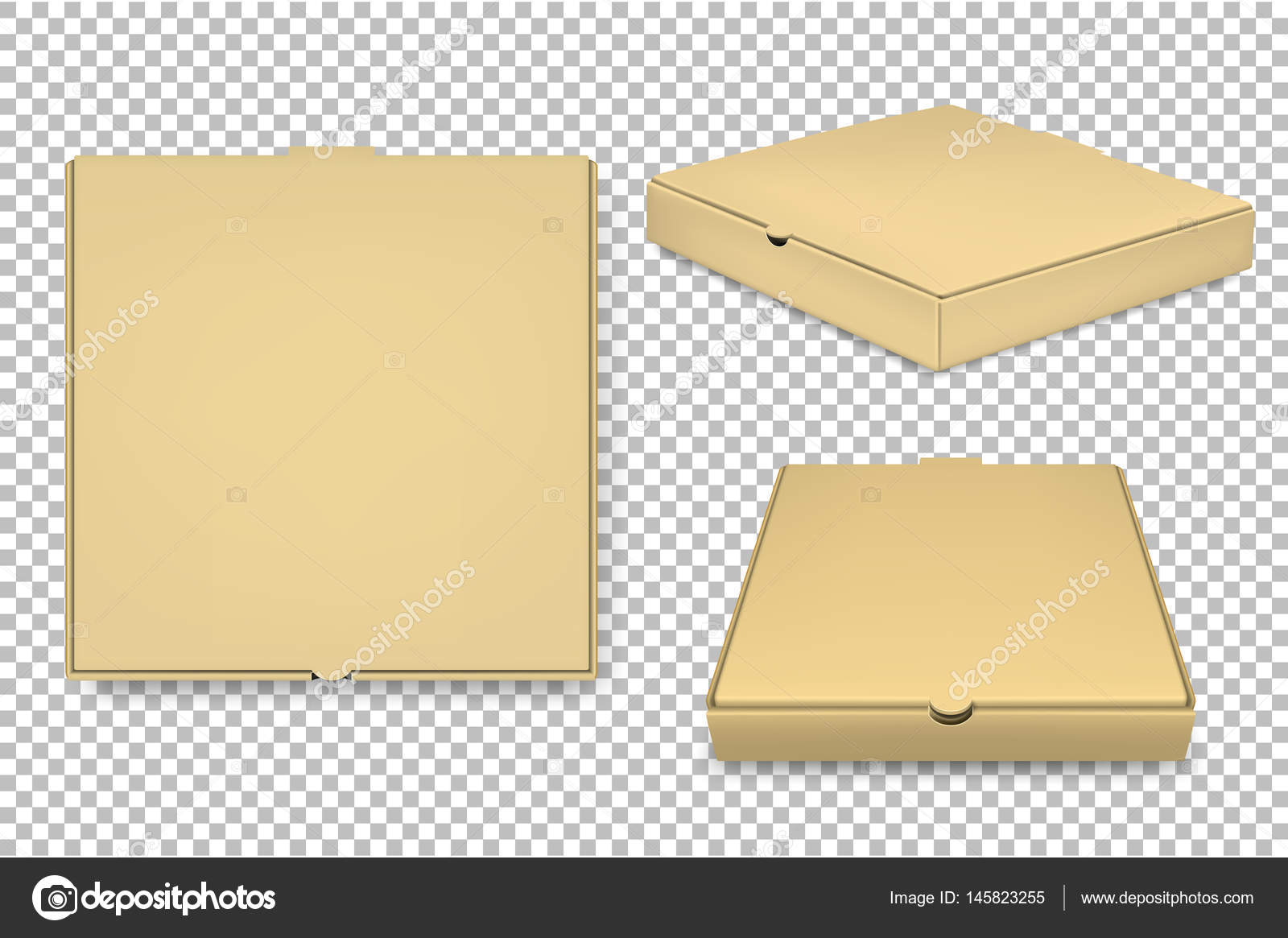 vector blank pizza box design template set isolated eps10 stock