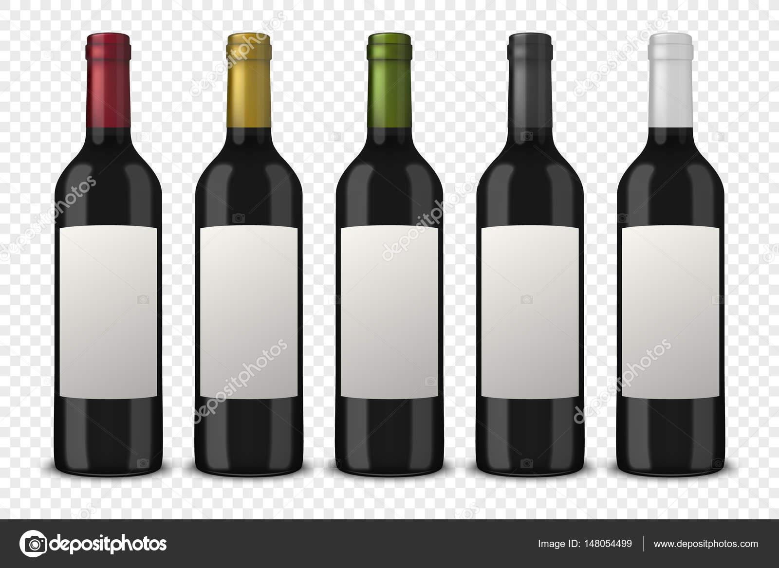 Set 5 realistische Vektor schwarzen Flaschen Wein ohne Etiketten auf ...