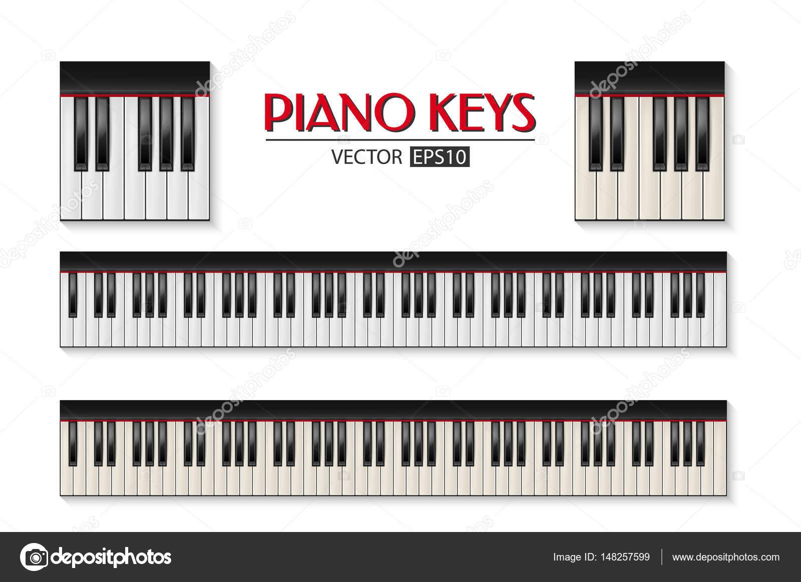 Icono de teclado de piano realistas vector conjunto aislado en fondo ...