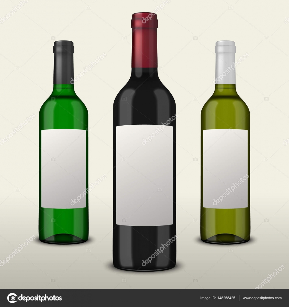 Set 3 realistische Vektor Wein Flaschen mit leeren Etiketten ...
